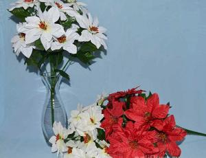 Пуансеттия, Троица, искусственные цветы, красивые, недорого, цветы на кладбище, декор,пасха, ритуальные цветы, букеты искусственные