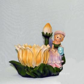 Кашпо - Дюймовочка с желтой лилией, кашпо для цветов, кашпо из полистоуна, детям, фигурка кашпо, горшок для цветов, декорация цветов, качество,  зоокашпо из полистоуна,  оригинальный внешний вид, долговечный, декор