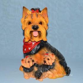 Йорк  со щенками, собака, красивая фигурка