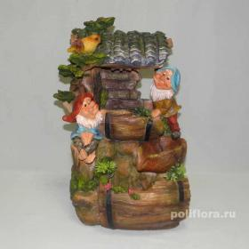 фонтан, вода, на подоконник, гномы, веселье, декор, с шариком, рыжий, с помпой, мальчик, девочка, в шляпке, маленький, цветные, яркие, лотос, гриб, в костюме, грибочки, красивые, улыбка, старичок, дерево, водопад, двое, пара, цветные шапки, бородачи, сруб, 16