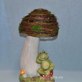 ландшафтный дизайн, фигуры для сада, садовые фигуры, ландшафтная фигура, фигурка, гриб, гриб с плетенной шляпкой, декоративный гриб