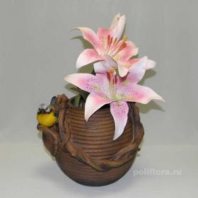 Кашпо - Чайник с синицей , кашпо для цветов, кашпо из полистоуна, детям, фигурка кашпо, горшок для цветов, декорация цветов, качество,  зоокашпо из полистоуна,  оригинальный внешний вид, долговечный, декор