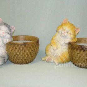 Кашпо - котенок серый , кашпо - котенок рыжий, кашпо для цветов, кашпо из полистоуна, детям, фигурка кашпо, горшок для цветов, декорация цветов, качество,  зоокашпо из полистоуна,  оригинальный внешний вид, долговечный, декор