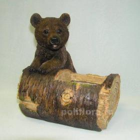 Кашпо - Медведь с бревном , кашпо для цветов, кашпо из полистоуна, детям, фигурка кашпо, горшок для цветов, декорация цветов, качество,  зоокашпо из полистоуна,  оригинальный внешний вид, долговечный, декор, бревно, медведь