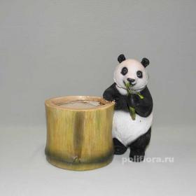 Кашпо - Панда у бамбука, кашпо для цветов, кашпо из полистоуна, детям, фигурка кашпо, горшок для цветов, декорация цветов, качество,  зоокашпо из полистоуна,  оригинальный внешний вид, долговечный, декор