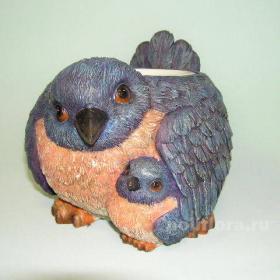 Кашпо - Птица с птенцом, кашпо для цветов, кашпо из полистоуна, детям, фигурка кашпо, горшок для цветов, декорация цветов, качество,  зоокашпо из полистоуна,  оригинальный внешний вид, долговечный, декор