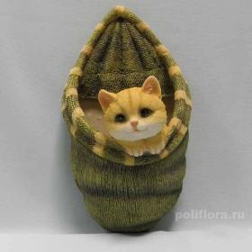 Кашпо настен. вязка с котенком НР101016
