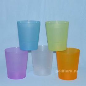 Радуга кашпо прозрачный голубой, прозрачный зеленый, прозрачный оранжевый, прозрачный фиолетовый,  прозрачный