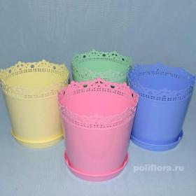 Ришелье кашпос поддоном белый, голубой, желтый, розовый, салатовый