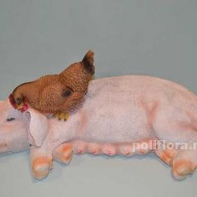 свинка с курочкой,свинья, поросенок, хряк, хрюшка, ландшафтная фигура, декор