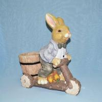 Кашпо-Заяц на самокате, красивое кашпо, декор сада, оригинальный подарок, ландшафт, недорого, заяц