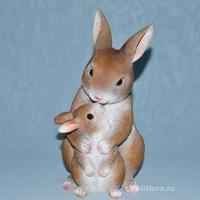 Заяц с зайчонком  25 см QZLG019