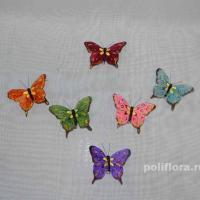 Декор-Бабочки 8 см (перо-клипса) 0178-8