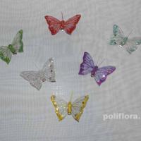 Декор-Бабочки 8 см (перо-клипса) 0180-8