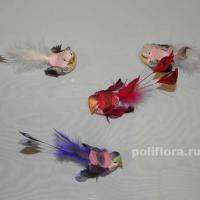 Декор-Птички 13 см (перо-клипса) 2002-13