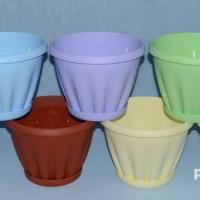 Знатный горшок c поддоном (белый, голубой, желтый, зеленый, мрамор, терракотовый, шоколадный, сиреневый)