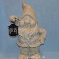 Гном серый с фонарем 51 см LMG0060