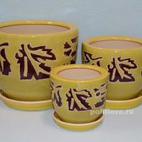 керамика, горшок, керамический, набор, цветы, декор, кашпо, качество