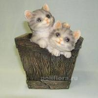 Кашпо - Бочка-два котенка  18 см  НА07268