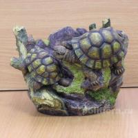 Кашпо - Черепахи на пеньке