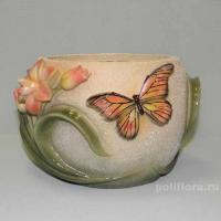 Кашпо - Цветок с бабочкой