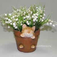 Кашпо - Глина с котенком  15 см HP091278
