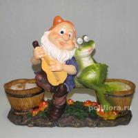 Кашпо - Гном с лягушкой YH2110474B