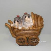 Кашпо - Коляска с щенками HP08060