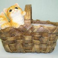 Кашпо - Котята в лукошке  32 см  HA08119