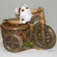 Кашпо - Велосипед с котенком, кашпо для цветов, кашпо из полистоуна, детям, фигурка кашпо, горшок для цветов, декорация цветов, качество,  зоокашпо из полистоуна,  оригинальный внешний вид, долговечный, декор,  украшенные забавными зверушками