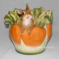 Кашпо - Заяц в морковках, заяц, морковка, кашпо для цветов, кашпо из полистоуна, детям, фигурка кашпо, горшок для цветов, декорация цветов, качество,  зоокашпо из полистоуна,  оригинальный внешний вид, долговечный, декор,  украшенные забавными зверушками