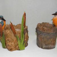 Кашпо - Зимородок в камышах  14 см  HР111027; Кашпо - Зимородок на пне 12 см HР111047