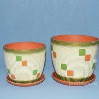 Керамический набор, красивый , для цветов, кашпо