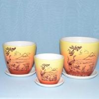 Керам.набор Фудзияма оранжевый крокус  х3