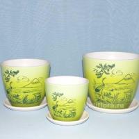 Керам.набор Фудзияма зеленый крокус  х3