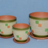 Керам.набор Квадрат зеленый крокус х3