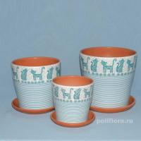 Коты, керамический набор, красивый, голубой