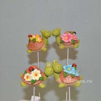 Стикер - Черепашки  в цветочках 6 см  KXY14A5384