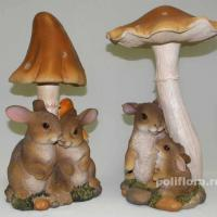Зайцы у грибов 32 см BJ102422; Зайцы под грибом 32 см BJ102423