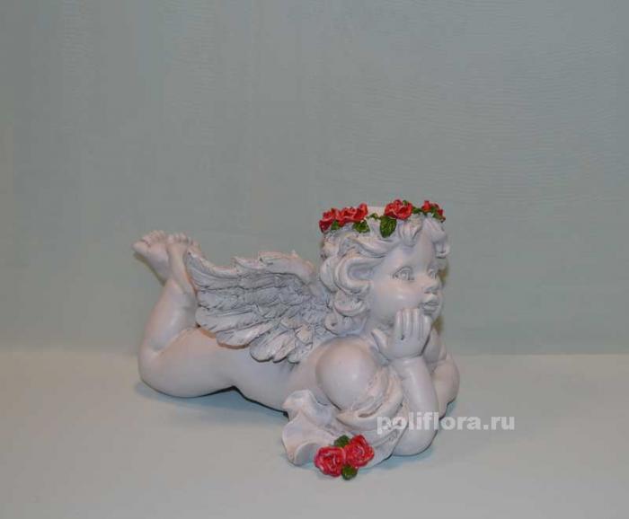 Ангел с розами лежит 31 см  OY145-98097МА