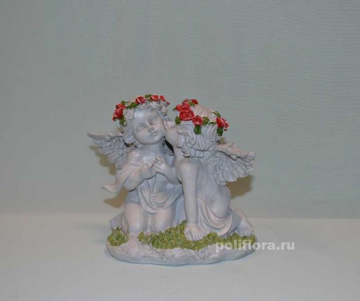 Ангелы с розами целуются 18 см  OY145-98132МА