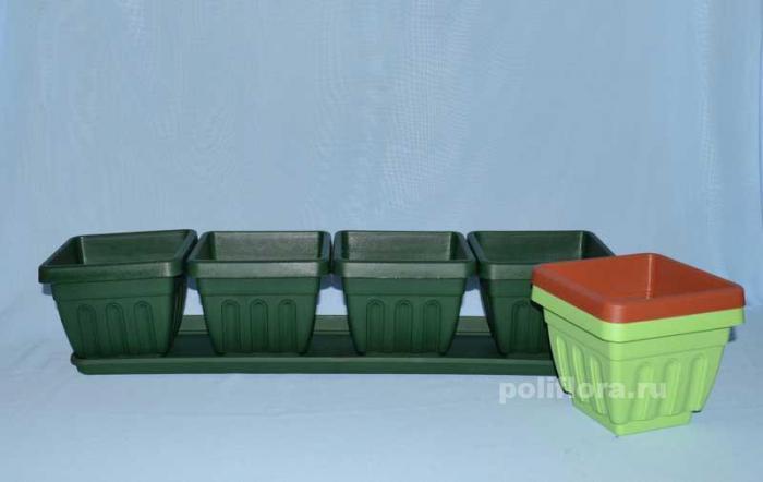 Балк. кашпо с под. Ирис квартет белый, зеленый, салат, терра