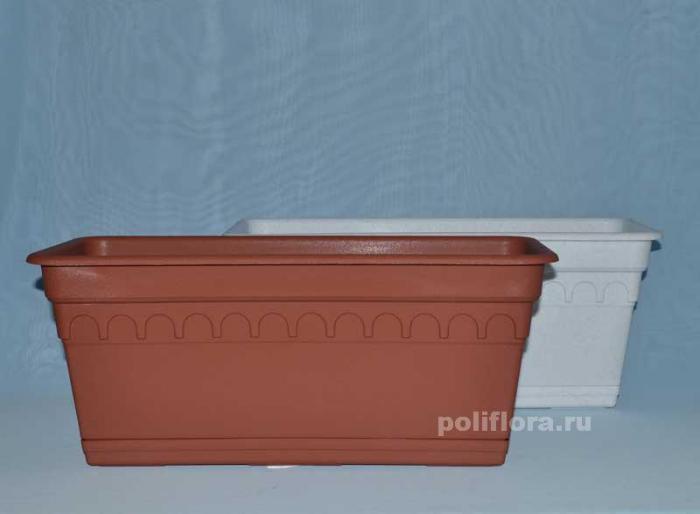Балконный ящик Колывань с поддоном мрамор, терракот