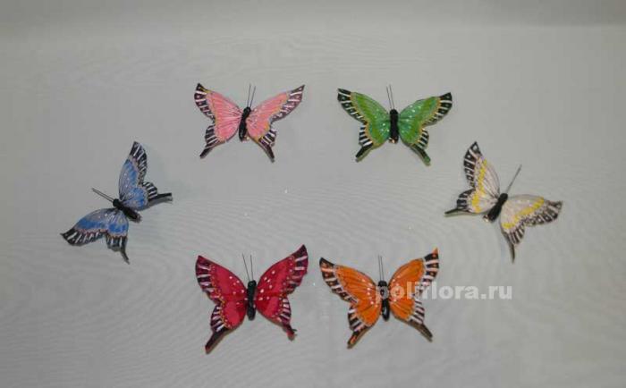 Декор-Бабочки 10 см (перо-клипса) 0005-10
