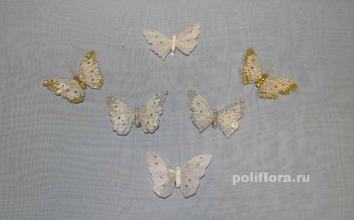 Декор-Бабочки 10 см (перо-клипса) 0074-10