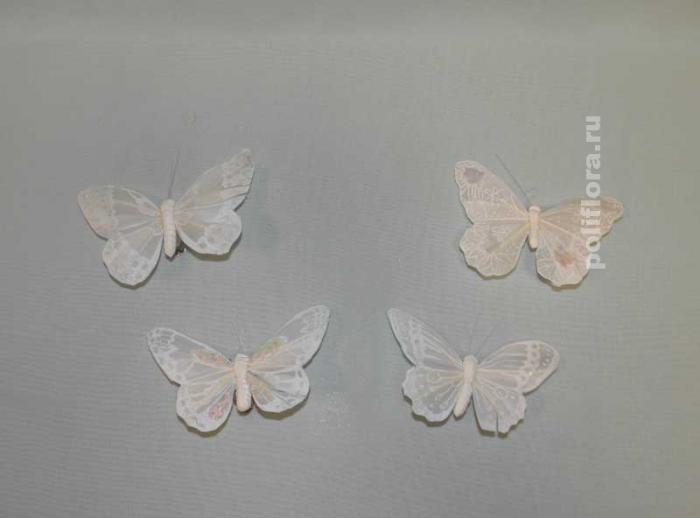 Декор-Бабочки 10 см (перо-клипса) 0091-10