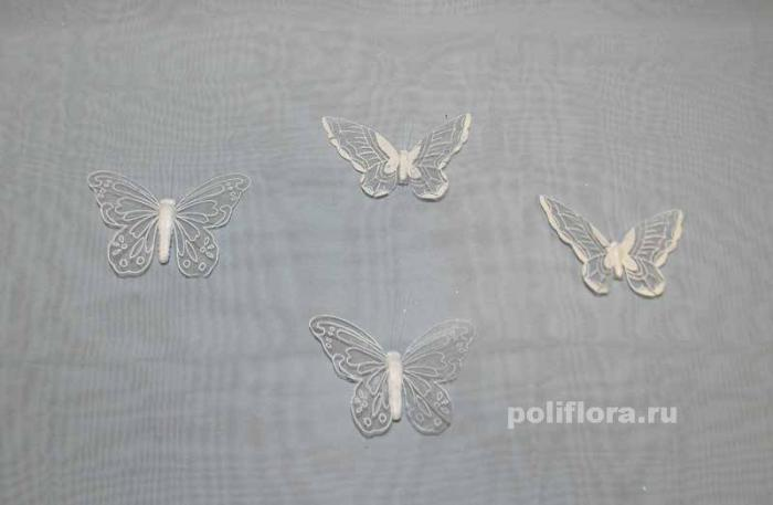 Декор-Бабочки 12 см (перо-клипса) 2088-12