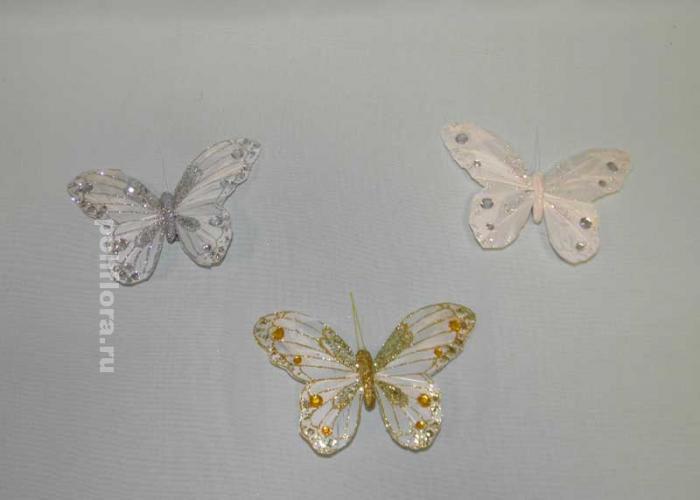 Декор-Бабочки 14 см (перо-клипса) 0177-14