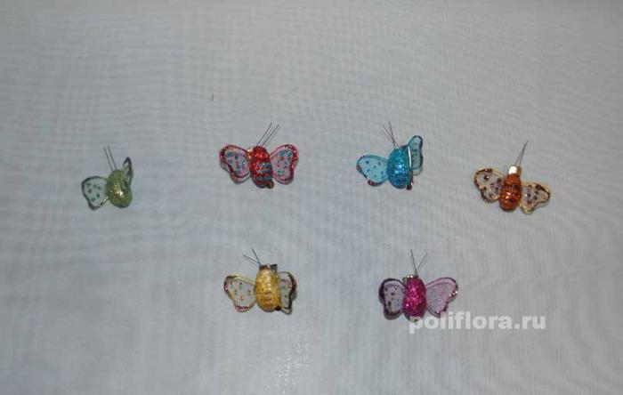 Декор-Бабочки 4 см 36 шт. уп. (марля клипса) 2902-4