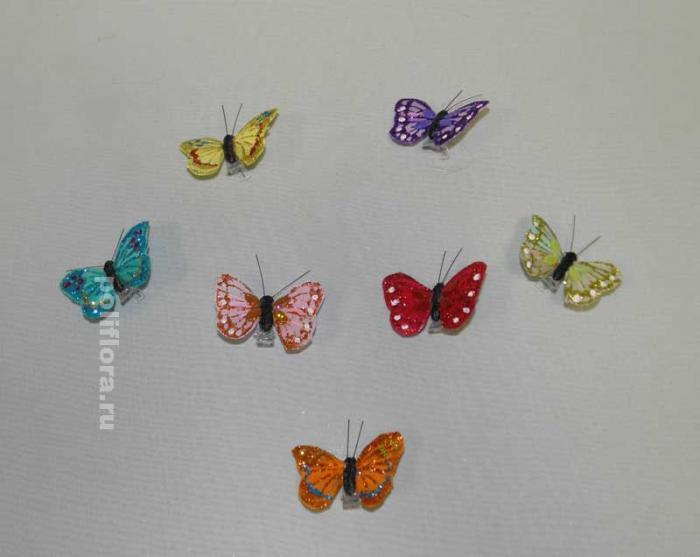 Декор-Бабочки 5 см (перо-клипса) 2080-5